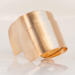 HERMES - Handmade Bronze Cuff Bracelet, Handcrafted Bangle, Women Gift 24 ct Gold plated
