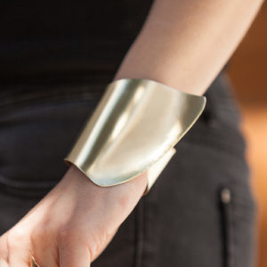 Extra wide custom made Cuff Bracelet 18k Rose Tone Gold plated hammered bangle