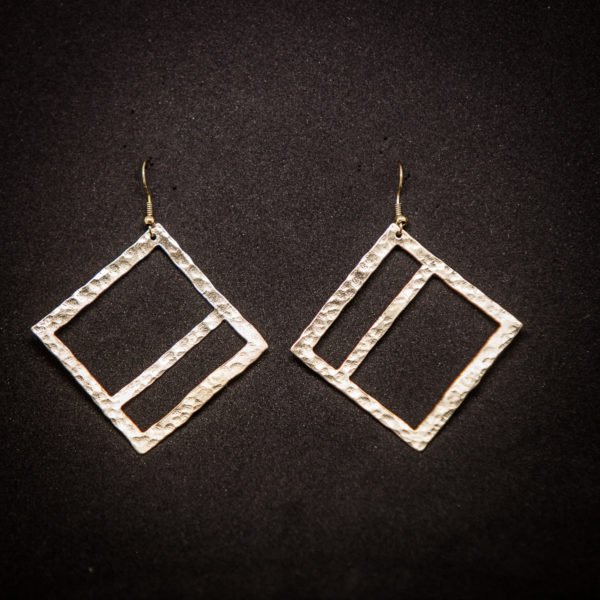 Geometric Hammered Handmade Wide Square Earrings