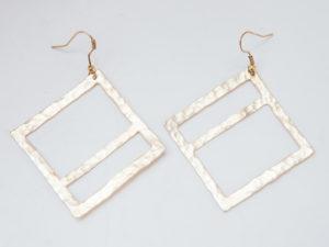 Geometric Hammered Handmade Wide Square Earrings