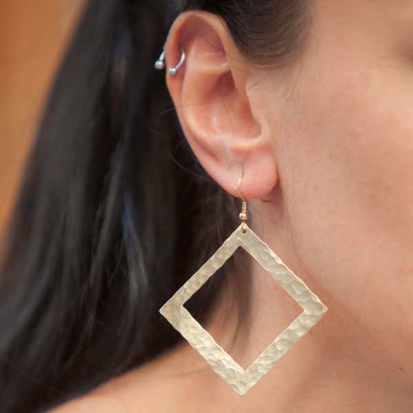 Wise Square hammered handmade gold plated Earrings