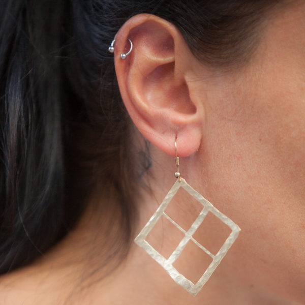 Wide square cut out hammered handmade gold plated Earrings