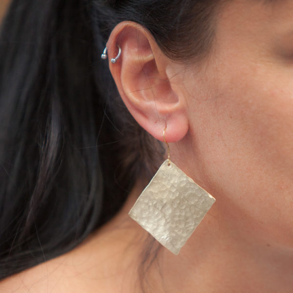 Wide square hammered handmade gold plated Earrings