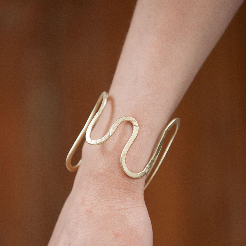 PROTOGON Greek Hammered handmade wire cuff bracelet ...
