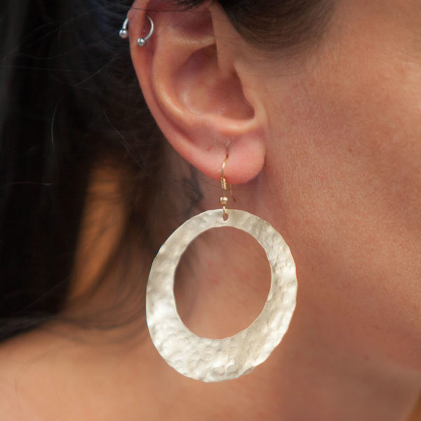 Hammered Handmade Wide Round cut out Earrings 18karat Goldplated