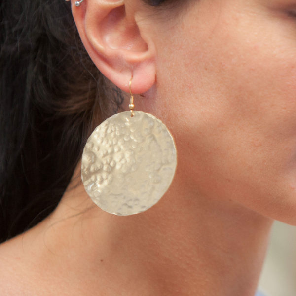 Greek Earrings Hammered Handmade Wide Round 18karat Gold plated