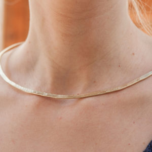 Necklace Choker Greek Hammered Handmade 24k Gold plated bronze
